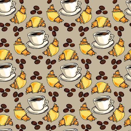 restaurant interior design: Seamless pattern background. Cup of hot espresso, yellow orange croissant, coffee beans. For cafeteria bakehouse, restaurant interior design, fabric packaging, wrapping paper, menu, coffee shop.