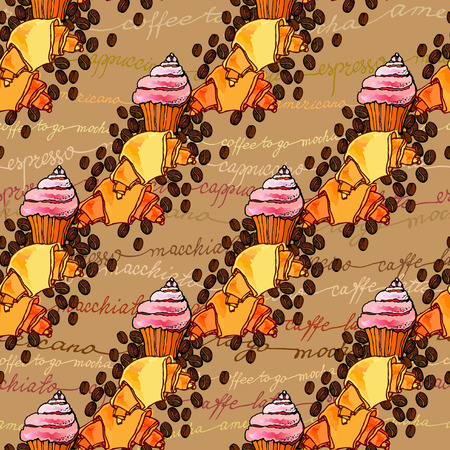 restaurant interior design: Seamless pattern background. Cup cake, croissant, coffee beans and coffee calligraphy. For cafeteria bakehouse, restaurant interior design, fabric packaging, wrapping paper, menu, coffee shop.