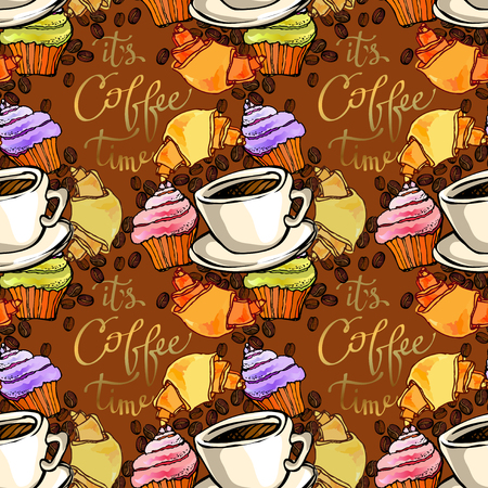 restaurant interior design: Cupcake, croissant, coffee beans and cup of espresso. Coffee time calligraphy. Seamless pattern background. For bakehouse, restaurant interior design, fabric packaging, wrapping paper, coffee shop.