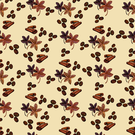 caffeine: Seamless pattern background. Cynamon banyan spices and coffee beans. For fabric packaging, wrapping paper, menu, coffee shop, cafeteria and restaurant interior design. Illustration