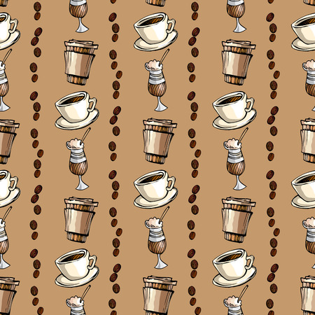 restaurant interior design: Seamless pattern background.Vertical striped of cup of hot espresso, coffee to go and coffee beans. For fabric packaging, wrapping paper, menu, coffee shop, cafeteria and restaurant interior design. Illustration