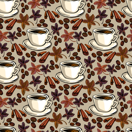 restaurant interior design: Seamless pattern background. Cup of hot espresso, coffee beans, cinnamon and banyan. For fabric packaging, wrapping paper, menu, coffee shop, cafeteria and restaurant interior design.