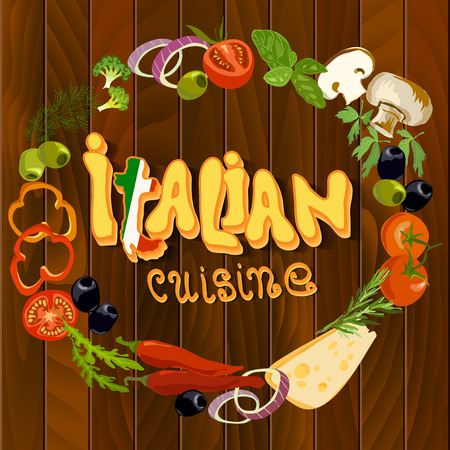 wooden circle: Italian cuisine food circle frame background. Hand Drawn pizza ingredients on wooden texture background. Health natural organic vegetables for cooking pizza. Italian restaurant design.