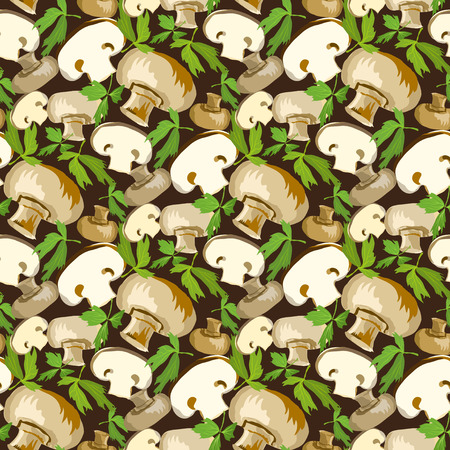 champignon: Champignon mushroom with parsley leaves. Food ingredients for healthy vegetarian cooking. Pattern background for restaurant design, labels, packaging, wrapping paper. Vector iilustration. Illustration