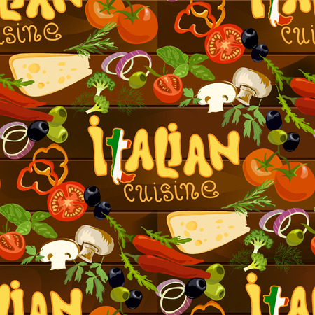 pizza ingredients: Italian cuisine food seamless pattern background. Hand Drawn pizza ingredients on wooden texture background. Health natural organic vegetables for cooking pizza. Italian restaurant design.