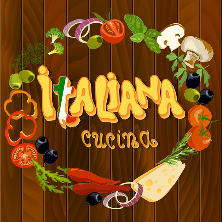 Italian cuisine food circle frame background. Hand Drawn pizza ingredients on wooden texture background. Text translation - italian cuisine. Vegetables for cooking pizza. Italian restaurant design. 向量圖像