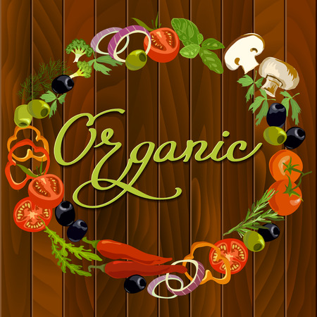 wooden circle: Healthy vegetable food circle frame background. Hand Drawn vegetarian pizza ingredients on wooden texture background. Organic calligraphy sign. For vegetarian natural cooking. Restaurant design. Illustration
