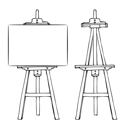 space to write: Wooden painting easel with blank canvas cartoon black and white hand drawn sketch style isolated on white background. Vector illustration.