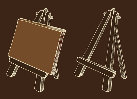 blank canvas: Wooden painting easel with blank canvas cartoon black and white hand drawn sketch style isolated on dark background. Vector illustration. Illustration