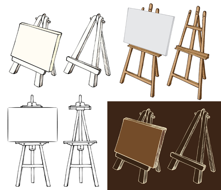 blank canvas: Wooden painting easels set. Easel with blank canvas, cartoon, black and white and color, hand drawn sketch style isolated on white and dark background. Vector illustration.