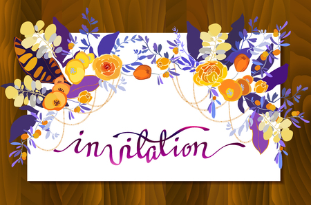 wedding reception decoration: Calligraphy sign invitation with floral bouquets border frame. Orange yellow purple flower and leaves on white background and wooden texture Invitation calligraphy sign for wedding, party, celebration Illustration