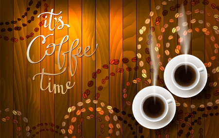 cafeteria: Horizontal coffee design with light, hot coffee, coffee beans and calligraphy quote it is coffee time. Coffee time banner design for coffee shop, restaurant menu and cafeteria. Vector background.