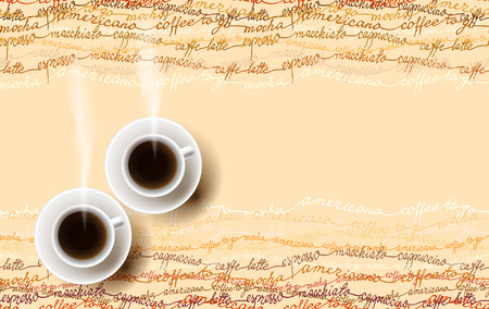 mocha: Horizontal coffee design with coffe mocha, americano, espresso text lines texture and two cups of hot coffee. Coffee time banner design for coffee shop, restaurant menu, cafeteria. Vector background.