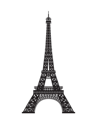 black metal: Eiffel tower isolated on white background.