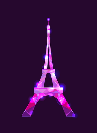 Eiffel tower concept pink diamante design on dark background. Symbol of France and Paris. Purple shane crystal design. Vector illustration.