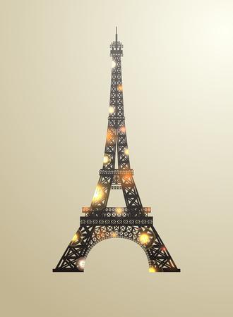 Eiffel tower concept golden diamante design on golden background. Symbol of France and Paris. Iron shane design. Vector illustration. Illustration