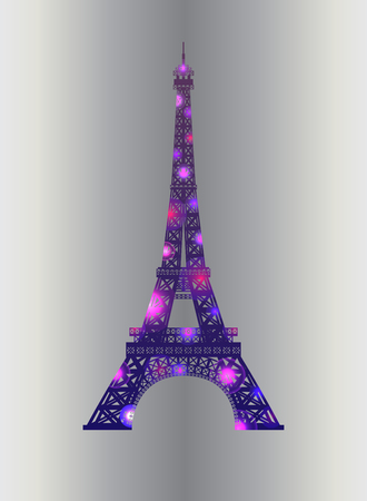 Eiffel tower concept pink diamante design on silver background. Symbol of France and Paris. Purple shane sparkly design. Vector illustration.