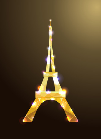diamante: Eiffel tower concept golden diamante design on dark background. Symbol of France and Paris. Iron shane design. Vector illustration.