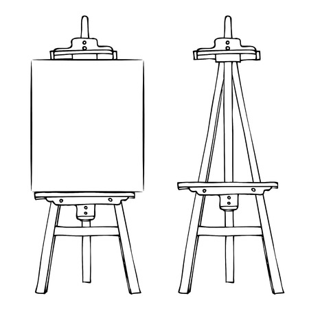 cavalletto dipinto in legno con tela bianca. Fumetto nero bianco cavalletto stile schizzo isolato su sfondo bianco. Supporto con tela e cavalletto verticale vuoto. Illustrazione vettoriale stock vector
