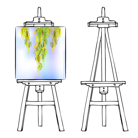 blank canvas: Wooden painting easel with blank canvas. Cartoon black white sketch style easel isolated on white background. Easel with vertical floral picture and empty easel. Vector illustration stock vector