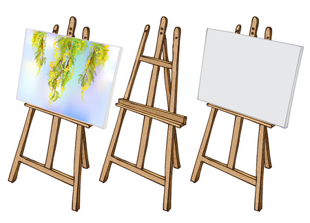 blank canvas: Wooden painting easel with blank canvas. Cartoon coloful sketch style easel isolated on white background. Easel with blank canvas, with floral picture and empty easel. Vector illustration stock vector