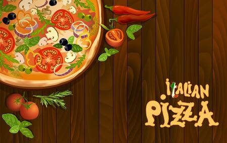 Pizza con la seta y el tomate, chile, hierbas a bordo en el fondo de madera. Diseño de la esquina para el menú de pizza o diseño de interiores pizzería. Texto pizza italiana. ilustración vectorial stock de vectores.
