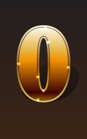 null: Golden number zero or null on dark background isolated. Golden alphabet. Vector illustration number zero or null for golden best choice design. Vector illustration stock vector.