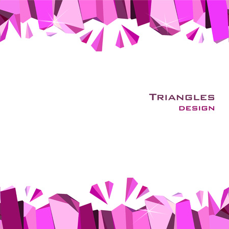 ruby: Pink horizontal frame on white background. Seamless border with ruby diamond crystal triangles. Abstract geometric girl design.