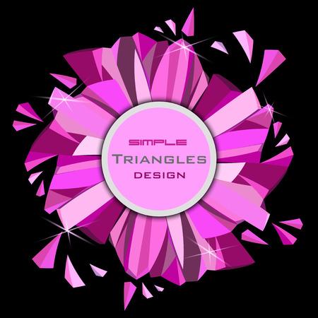 Marco del círculo del diamante del encanto de rubí de color rosa con destellos rosa sobre fondo negro. Ronda etiqueta con el lugar de texto. Ilustración de vector