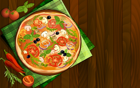 dark olive: Pizza with mushroom and tomato, chilli, herbs on board on napkin on wooden background. Illustration for pizza menu or pizzeria interior design. Text place. Vector illustration stock vector.