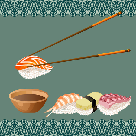Chopsticks holding sushi roll, plates with sauce, wasabi on light red background. Japanese traditional cuisine banner. Vector illustration stock vector.