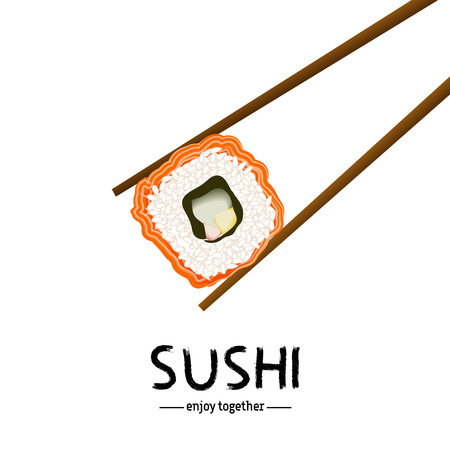 roll paper: Japanese chopsticks holding sushi roll on white isolated. Rice roll with salmon and sushi lettering. Japanese traditional cuisine poster or advertising banner. Vector illustration stock vector.