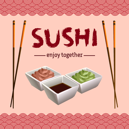 wasabi: Japanese traditional cuisine banner. Poster with sushi calligraphy or sushi lettering. Plate with sauce, wasabi and chopsticks as frame on light red background. Vector illustration stock vector. Illustration