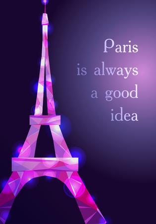 Eiffel tower concept pink diamante design on dark background. Text Paris is good idea. Symbol of France and Paris. Purple shane crystal design. Vector illustration.