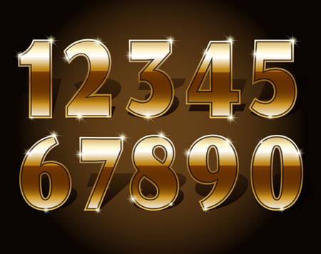 5.0: Golden numbers set on dark background isolated. Gold number one two three four five six seven eight nine and zero or null. Vector illustration stock vector.