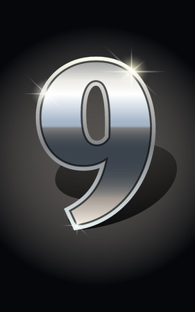 metalic design: Silver number nine on dark background isolated. Silver alphabet. Vector illustration number nine. Number nine icon. Vector illustration stock vector.