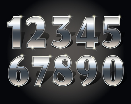 four in one: Silver numbers set on dark background isolated. Silver number one two three four five six seven eight nine and zero or null. Vector illustration stock vector. Illustration
