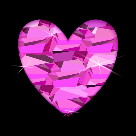 diamond heart: Ruby diamond heart with black background. Heart frame with pink diamond geometric pattern. Valentine love card with triangles pattern and shiny sparkles. Vector illustration stock vector.