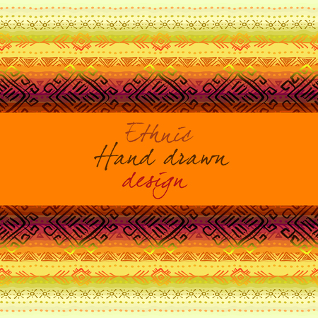 baner: Horizontal seamless border frame with tribal stripe ornament in light background. Baner with text place. Geometric ethnic colorful design. Vector illustration stock vector. Illustration