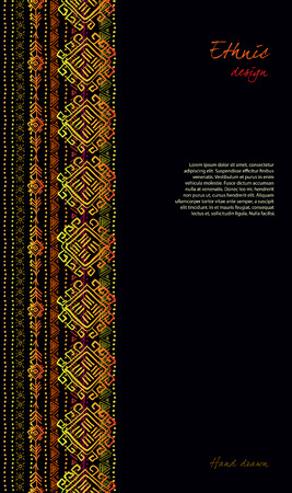 darck: Darck vertical design with tribal ornament ethnic seamless stripe border in black background. Geometric colorful design. Vector illustration stock vector. Illustration