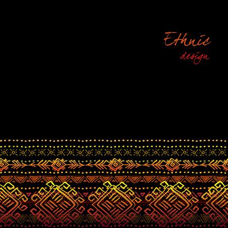 darck: Darck horizontal seamless border with tribal ornament ethnic stripes in black background. Geometric colorful design. Vector illustration stock vector. Illustration
