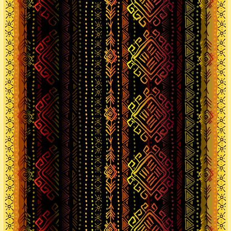 darck: Darck vertical seamless pattern with tribal ornament ethnic stripes in black background. Geometric colorful design. Vector illustration stock vector. Illustration