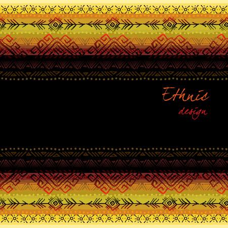 darck: Darck horizontal seamless border frame with tribal ornament ethnic stripes in black background. Geometric colorful design. Vector illustration stock vector. Illustration