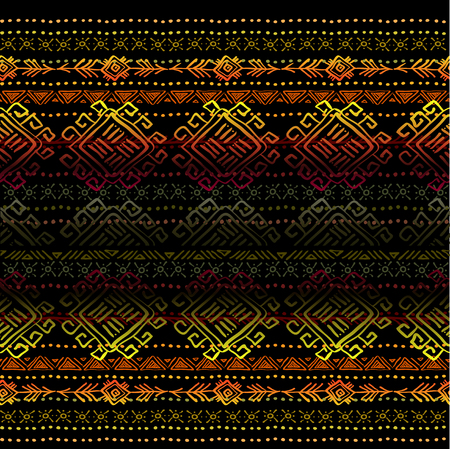 darck: Darck horizontal seamless pattern with tribal ornament ethnic stripes in black background. Geometric colorful design. Vector illustration stock vector. Illustration