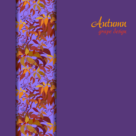Autumn grape vine border design. Wilde grape with red orange leaves and berries. Vertical stripe design. Colorful autumn or fall banner template. Vector illustration stock vector. Imagens - 64021399