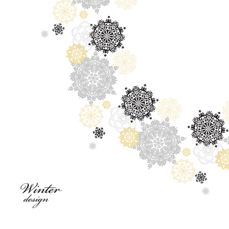 silver circle: Winter silver circle corner background with gold and white snowflakes and stars and light background. Round frame silver design. Vector illustration. Illustration