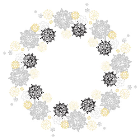 silver circle: Winter silver circle wreath background with gold and white snowflakes and stars and light background. Round frame silver design. Vector illustration. Illustration