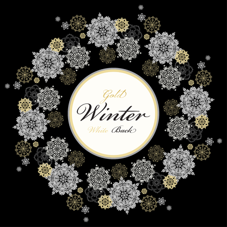 silver circle: Winter silver circle wreath background with gold and white snowflakes and stars and black background and label with text plase. Round frame silver design. Vector illustration.