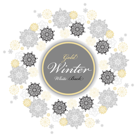 silver circle: Winter silver circle wreath background with gold and white snowflakes and stars and light background and label with text plase. Round frame silver design. Vector illustration.
