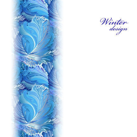 frozen glass: Winter holyday blue frost background. Vertical greetings banner with snow hoar frost ice. Blue, cyan and white design for winter holiday template. Frozen glass decor. Vector illustration stock vector.